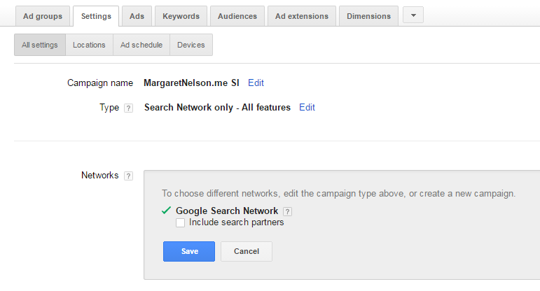 AdWords Therapist Sample Setup
