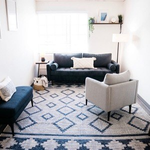 cozy blue therapy office