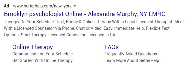 psychologist google ad example